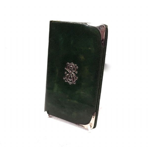 Victorian Green Leather & Silver Wallet / Purse / London 1900 / Antique Fashion